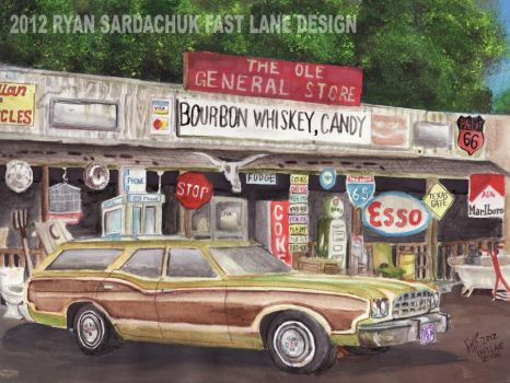 1973 Ford Torino Country Squire Painting by FastLaneIllustration