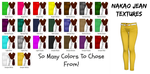 MMD Textures - Nakao Jeans - Big Color Package by EverlastingEcho-P