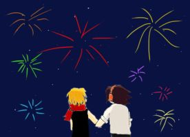 Yoh and Anna watching fireworks by PrincessHanyou