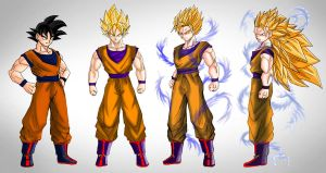 Goku SSJ Stages by dskemmanuel