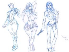 Triple Femme sketches by Kandoken