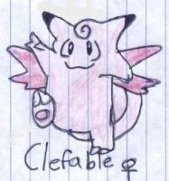Poke'Mon CLEFABLE Sketched by My Daughter Quo'Vah by Empress-XZarrethTKon