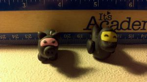 Pig and Duck Ninja Charms by UntouchedRayne