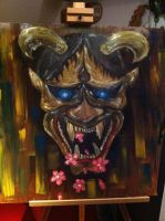 Hanja Mask Oil On Steel Sheet By Dysasta-d66wf by DYSASTA