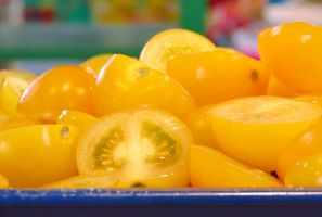 Halved Yellow Cherry Tomatoes by Kitteh-Pawz