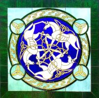 Celtic Horses - Stained Glass by buckskinmare