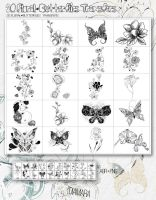 20 Floral Butterflies Transfers by Diamara