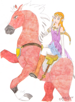 Aquarell Zelda and Epona by MelodyCrystel