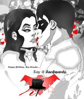 Say It Backwards.. (Nightwing and Zatanna) by jixustudios
