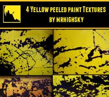 4 Yellow peeled paint textures by MrHighsky