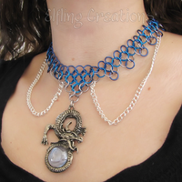 Blue and Silver Dragon Chainmaille Necklace by merigreenleaf