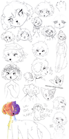 doodle and sketch dump + friends by eobe