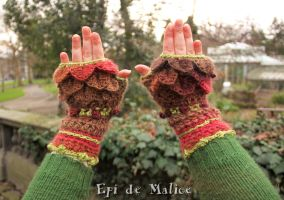 Fairy and magical pink and green forest mittens by MademoiselleOrtie