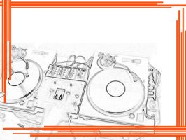 Turntables White and Orange by RenegadeOfTrance