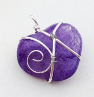 Purple Crackle Quartz Wire-Wrapped Pendant by FaerieForgeDesign