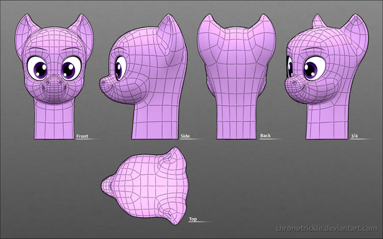3D Pony Head Reference Sheet [V. 0.6] by ChronoTrickle