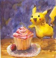 Pikachu's Cupcake Dive by Bagginsbaby23