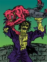 Zombie of Frankenstein VS Rose Colored Man Cat by javierhernandez