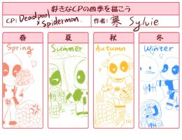 Deadpool and Spiderman in Four Seasons by SylvieZ