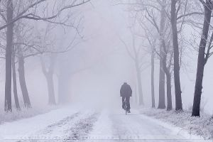 Lonely Biker on a Freezing Morning by thrumyeye