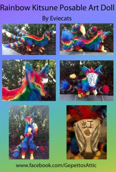 Rainbow Kitsune Posable Art Doll by Eviecats