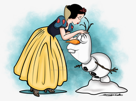 2-28-15 Snow White And Olaf by artinthegarage