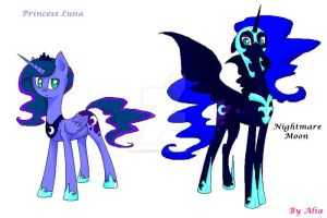 Princess Luna and Nightmare Moon by Alia-dragoness