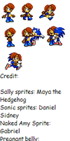Req. SonicxPregnant Sally sprites by Envytheskunk