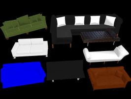 Mmd Couch Pack by MikiMikuMMD