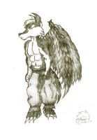 One winged Wolf by Minas-the-Inkwolf