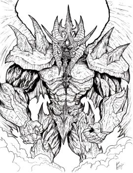 Obelisk the Tormentor (Lineart) by WretchedSpawn2012