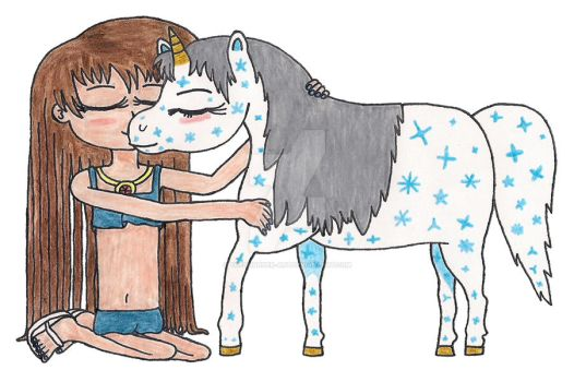 A Girl and Her Unicorn by TheThunder-Art