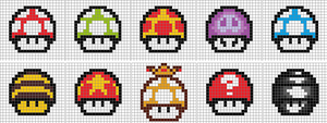 8-Bit Mario Mushrooms - 10 p. by aniles18