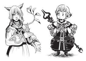FFXIV Y'shtola and Papalymo by RPGirl