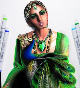 Queen Emerald -- Copic markers and prismacolor by f-a-d-i-l