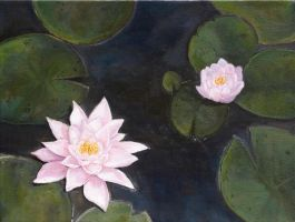 Lily Pond Oil Painting by MariahLynnDesign