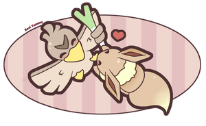 COMMISSION: Eevee and Farfetch'd