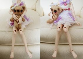 sweet posable ami bear with msd size doll by hellohappycrafts