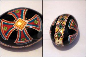 Large Cross Pysanky Egg by cybermathwitch-klm
