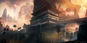 Temple in the Exotic Mountains by whatzitoya