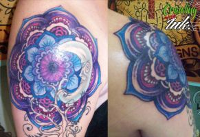 Purple outlined blue Mandala by JustinMain