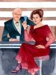 Captain Picard and Captain Janeway by kevinwada
