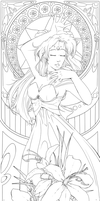 Princess Comet Nouveau - Lineart by Hinderence