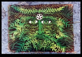 Batik Green Man Pillow by ReincarnationsDotCom