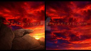 Orange sky with stone - Premade by Wesley-Souza