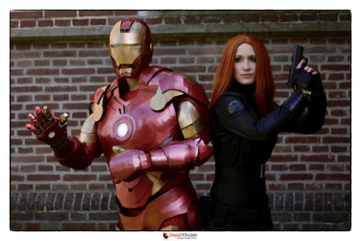 Black Widow and Iron Man Cosplay by shrye