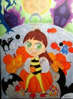 Happy Halloween colored copic markers by Visjel