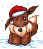 Commission: Christmas Eevee by Tamao
