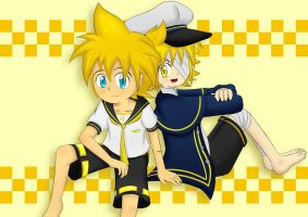 Kagamine Len and Oliver by irzhie