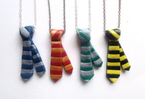 Hogwarts ties necklaces by curry-brocoli